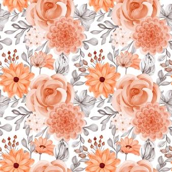 꽃 오렌지와 잎의 원활한 패턴 배경
