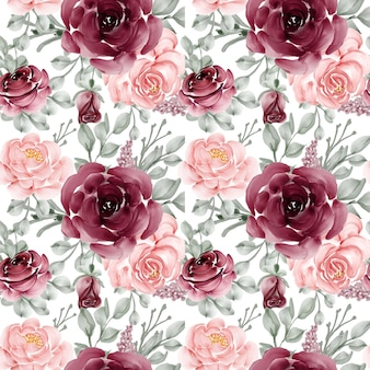 花のバラのピンクとバーガンディのシームレスなパターンの背景