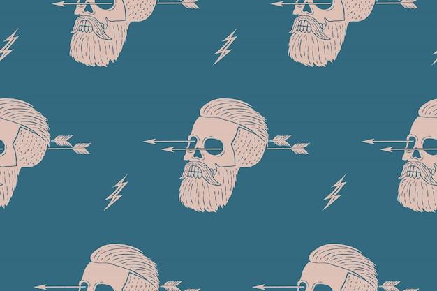 矢印の付いたビンテージスカルヒップスターのシームレスなパターン背景。包装紙とシャツの生地の質感のグラフィック。図