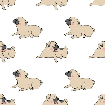 Seamless pattern background pug dog on white