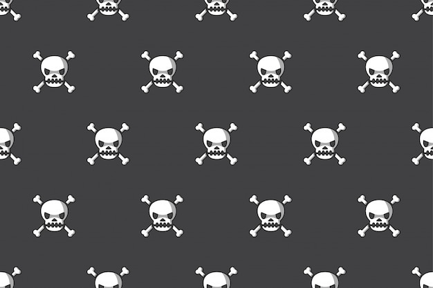 Seamless pattern background of skull and bone