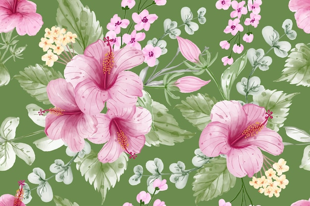 Seamless pattern background summer banner with hibiscus flower