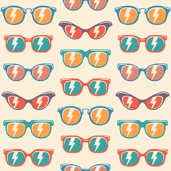 Бесшовные фон солнцезащитные очки с цветом, старинные солнцезащитные очки узор