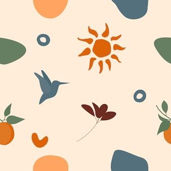 Бесшовные фон. солнечный летний узор для дизайнерской оберточной бумаги, обоев, ткани, детской ткани и т. д.
