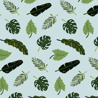 Seamless pattern background tropical leaves
