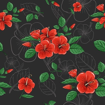 Seamless pattern background of tropical red hibiscus flower in abstract dark color vector design.
