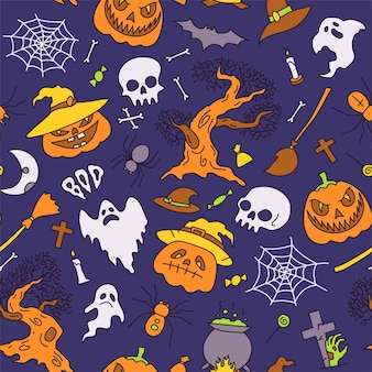 Seamless pattern background vector illustration halloween party elements set of icons in cartoon