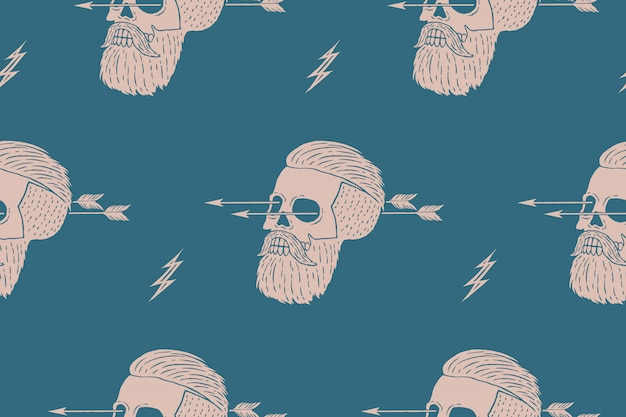 Seamless pattern background of vintage skull hipster with arrow. graphic  for wrapping paper and fabric texture of shirt.  illustration