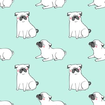 Seamless pattern background white pug dog on green pastel