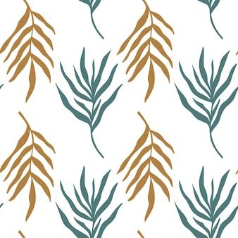 추상 손으로 그린 식물 실루엣으로 완벽 한 패턴 배경입니다. 열대 잎 야자수 가지 미니멀한 라인 아트 드로잉. 벡터 boho 미니멀리스트 꽃 배경 텍스처입니다.
