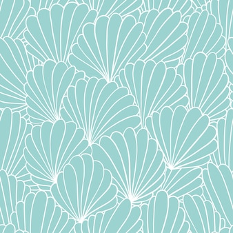Seamless pattern background with abstract shell ornaments