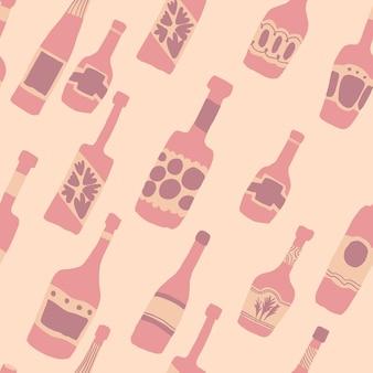 Бесшовный фон с барными бутылками. рука нарисованные различные стеклянные бутылки. векторная иллюстрация