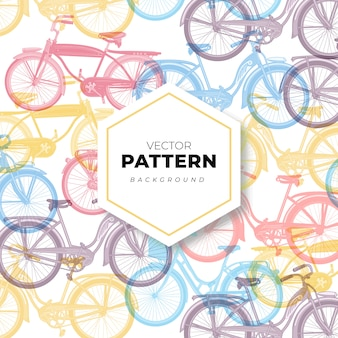 Seamless pattern background with bikes in pastel colors