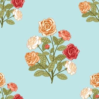 파란색 배경에 꽃의 부케와 원활한 패턴 배경