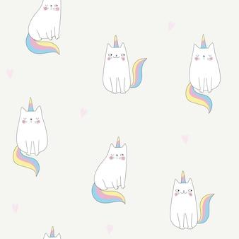 Бесшовный фон с кошками единорогами симпатичное сердце кошки doodle мультяшном стиле