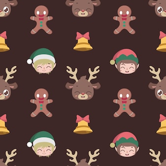 Seamless pattern background with christmas characters