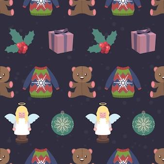 クリスマスのオブジェクトと要素とシームレスなパターンの背景