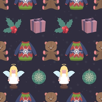 Seamless pattern background with christmas objects and elements