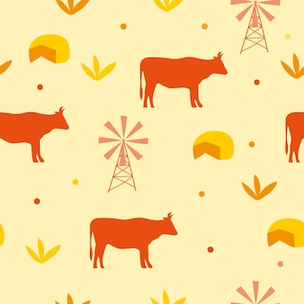 Seamless pattern background with cow and cheese - vector illustration in yellow and orange color.