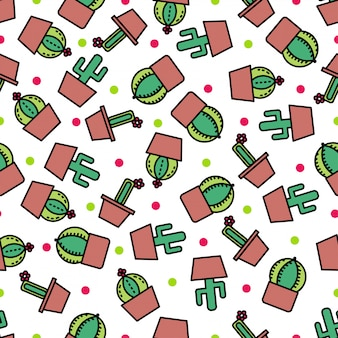 Seamless pattern background with cute cactus.