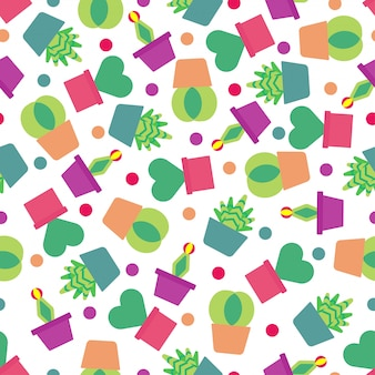 Seamless pattern background with cute cactus