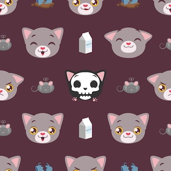 Seamless pattern background with cute cat and elements