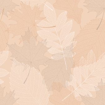 Seamless pattern background with different leaves.