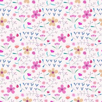 花と葉とのシームレスなパターン背景。