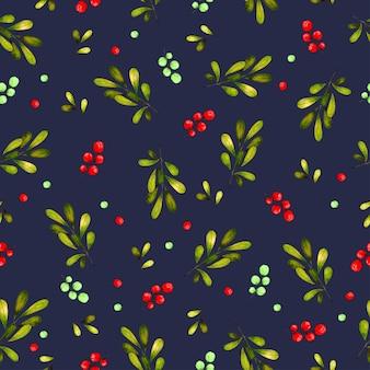 葉とさくらんぼとシームレスなパターンの背景