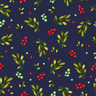 Seamless pattern background with leaves and cherries