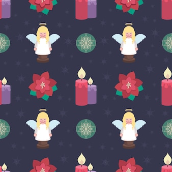 Seamless pattern background with lovely christmas elements