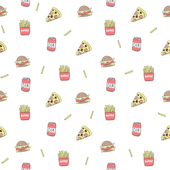 Seamless pattern background with pizza, cola, fried potatoes, sandwich, vector illustration eps 10.