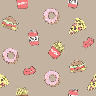 Seamless pattern background with pizza, donuts, fried potatoes, sandwich, vector illustration eps 10