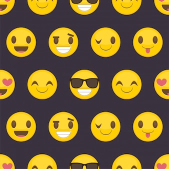 Seamless pattern background with positive happy smileys