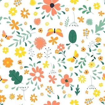 간단한 꽃 디자인 요소와 원활한 패턴 배경