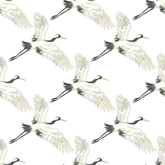 Seamless pattern, background with tropical birds. white heron, cockatoo parrot. colored and outline design on navy blue background.