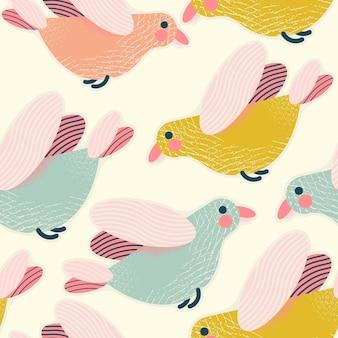 ベクトルでカラフルなかわいい鳥とシームレスなパターンの背景ラッピングpapeプリント