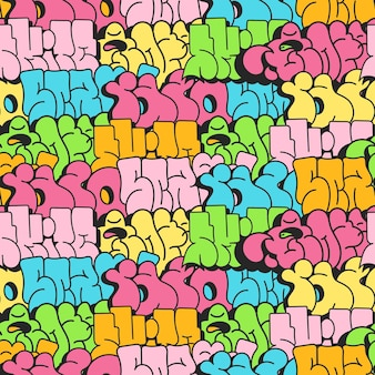 Seamless pattern backgroundgraffiti lettersin the style of graffiti street art vector illustration