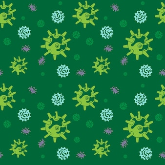 Seamless pattern of bacteria virus and germs microorganism cells