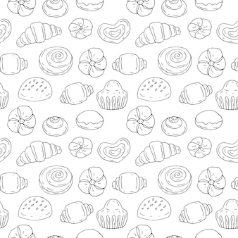 Seamless pattern bakery products, vector illustration, sketch