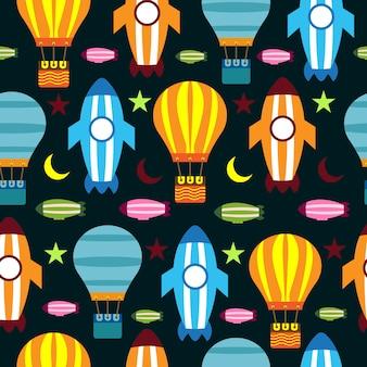 シームレスパターン気球ロケット月とカラフルな星