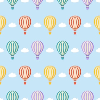 Seamless pattern balloon, clouds. kawaii wallpaper on blue.