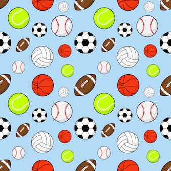 Seamless pattern balls football, rugby, baseball, basketball, tennis and volleyball