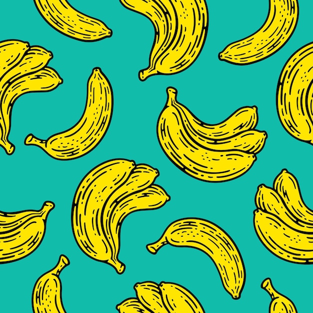 Seamless pattern of banana fruit in doodle vintage style.