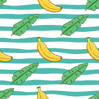 Seamless pattern of banana and leaves for summer concept with cute doodle style