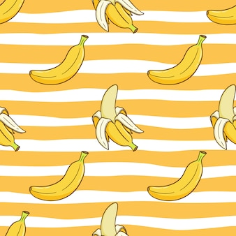 Seamless pattern of banana for summer concept with colored doodle style