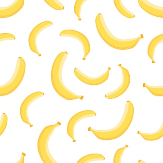 Seamless pattern of banana, tropical decoration in flat style