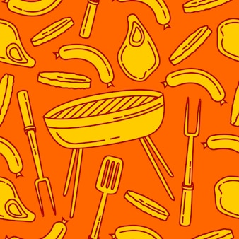 Seamless pattern barbeque background