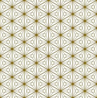 A seamless pattern based on elements of the traditional japanese craft kumiko zaiku. golden color lines.