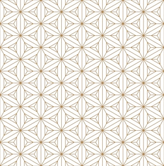 일본 장식을 기반으로 한 완벽한 패턴 쿠미코. 골든 컬러 라인.